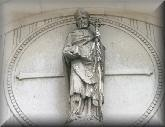 This statue stands over the main entrance to St Boniface Church Tooting